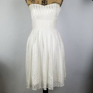 Strapless Sweet Heart Pleated White Dress